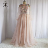Best Selling Vestidos De Novias O Neck Pink Beaded Flowers Long Sleeve A Line Floor Length