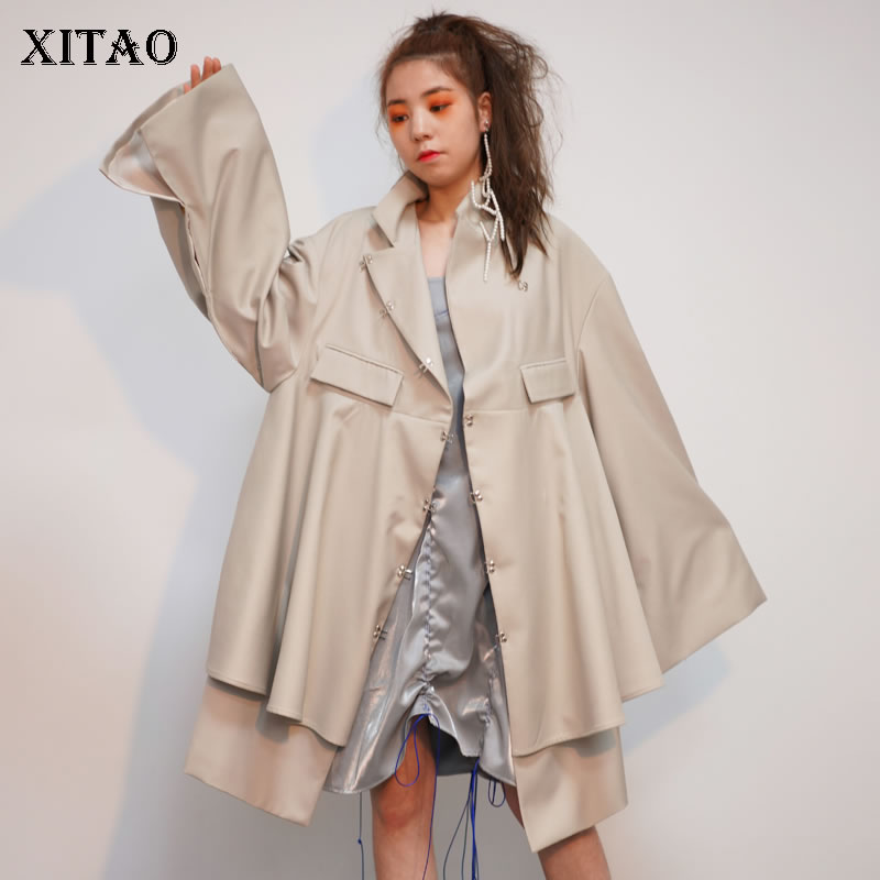 [XITAO] 2019 Spring New Fashion Turtleneck Full Sleeve Long   Trench   Female Solid Color Single Breasted Irregular Coat LYH2990