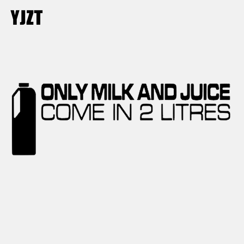 Yjzt 15 cm * 5 cm engraçado adesivo de carro preto prata vinil só leite e suco vêm em 2.0 litros decalque C11-2001