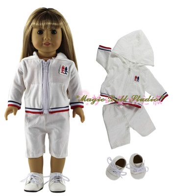 Us 13 88 Am031 2018 New 18 Inch American Girl Doll Clothes White Coat Pant And Shoes Set For 18 Amrican Girl Doll Outfits In Dolls Accessories