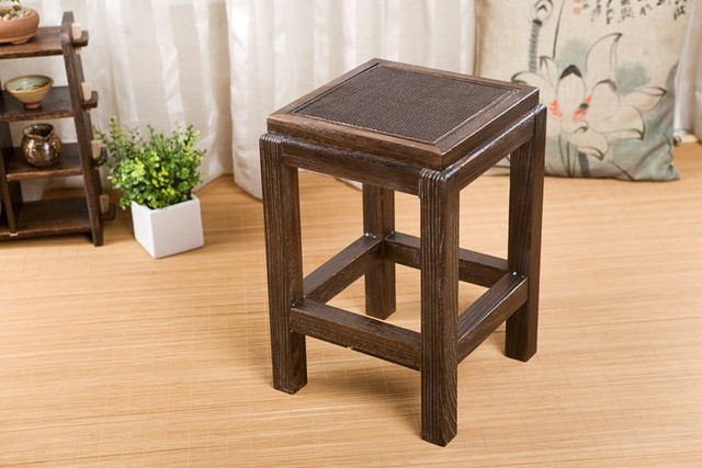 Japanese Antique Wooden Vintage Stool Chair Paulownia Wood Asian  Traditional Furniture Living Room Portable Low Stand
