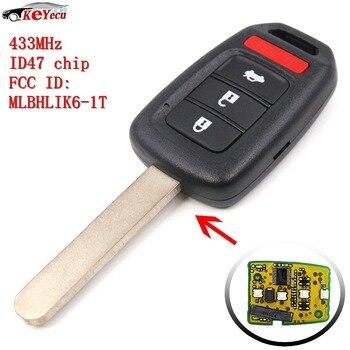 KEYECU Keyless Entry 3 Pulsante + 1 Chiave 433 MHz ID47 Chip per Honda Accord LX Sport 2013-2016/Civic 2014-2015 FCC ID: MLBHLIK6-1T