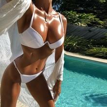 Купить с кэшбэком 2019 Summer Women's Bikini Thong Bathing Suit High Waist Sexy Swimsuit  Push Up M124