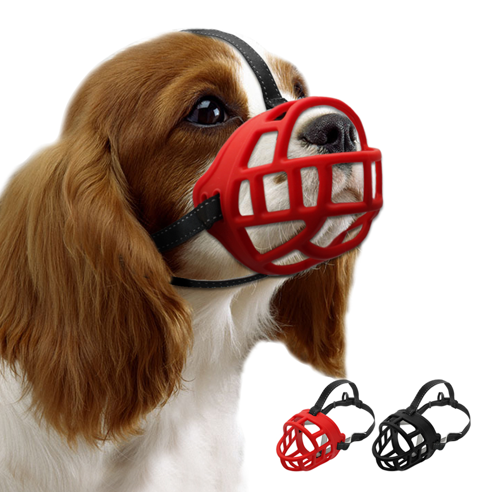 Soft Rubber Dog Training Muzzle Adjustable Straps Silicon ...