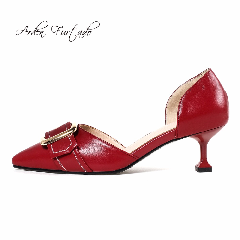 Arden Furtado 2018 new style shoes for woman genuine leather slip on  fashion pumps stilettos burgundy white office lady sandals-in Women s Pumps  from Shoes ... 2a7364bf6b15