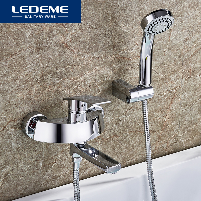 LEDEME Brass Hot And Cold Bath Faucet Bathroom Faucet Set Bathroom Mixer With Hand Spray Shower Mixer Taps Bathtub Faucet L3170 shinesia newly luxury gold polished brass 5pcs bathroom bathtub faucet swan spout with hand shower mixer 3 handles hot and cold