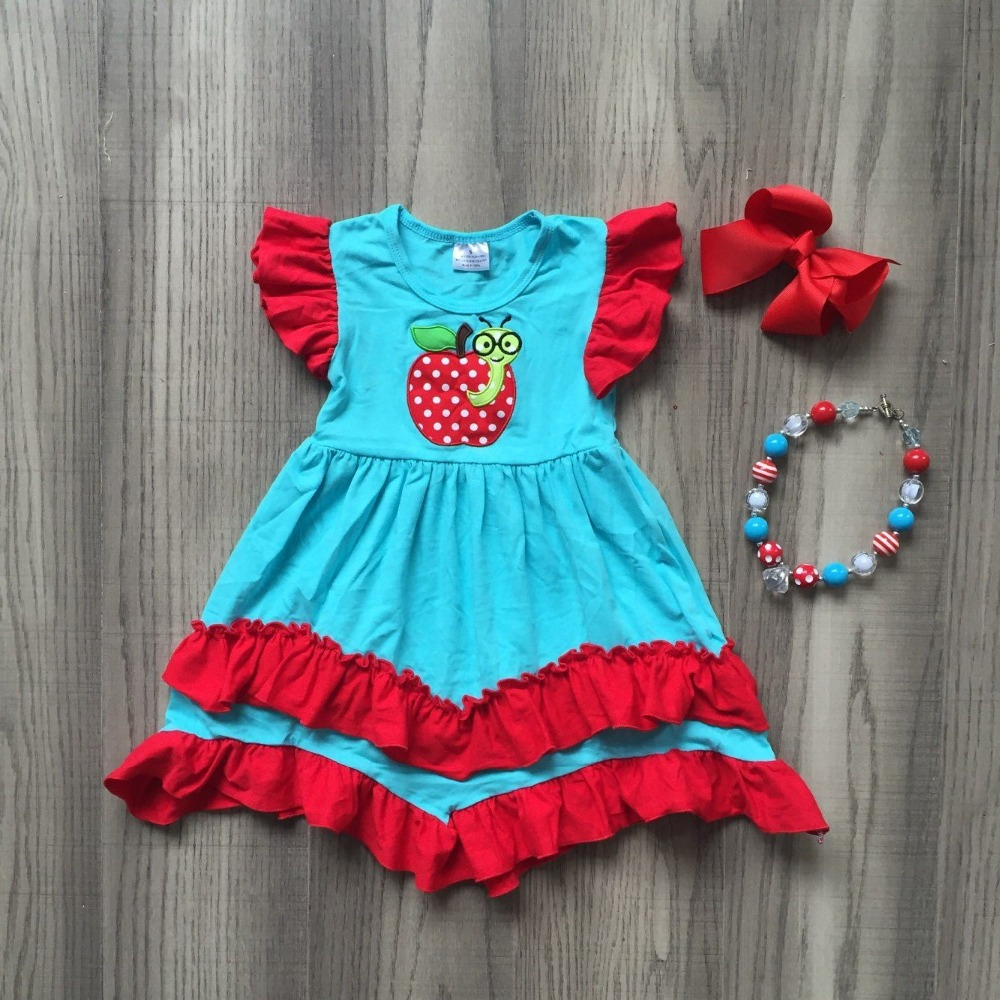 girls summer dress children back to school clothing girls apple top with red white polka dot with bows and necklacegirls summer dress children back to school clothing girls apple top with red white polka dot with bows and necklace