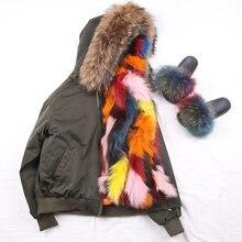 QIUCHEN PJ5048 2019 yeni ücretsiz kargo moda kadın tilki kürk çizgili bombacı rakun kürk yaka kış kürk parka bombacı