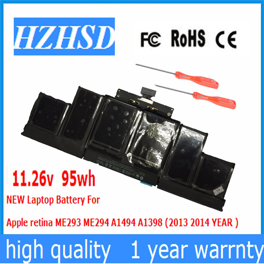 11.26v 95wh/8440MAH New Original New A1494 Laptop Battery For Apple retina ME293 ME294 A1398 (2013 2014 YEAR )