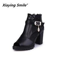 Xiaying улыбка летние женские босоножки Повседневное женские туфли-лодочки на платформе на высоком каблуке Мода толстой подошве молния Bling тол...