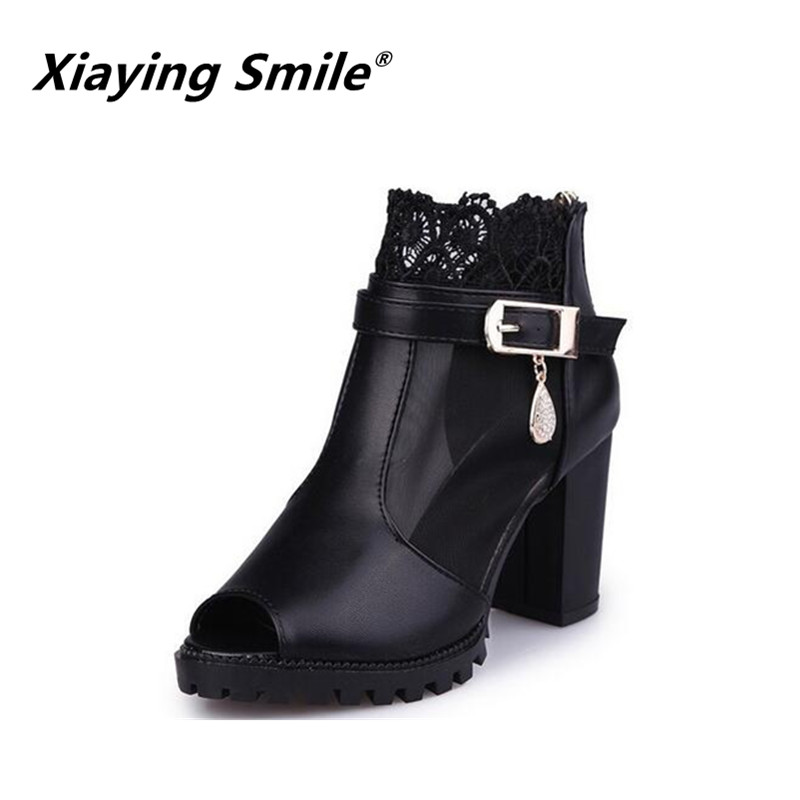 Xiaying Smile Summer Woman Sandals Casual Platform Women Pumps High Heel Fashion Thick Sole Zip Bling Hoof Heel Women Shoes xiaying smile summer woman sandals square cover heel woman pumps buckle strap fashion casual flower flock student women shoes