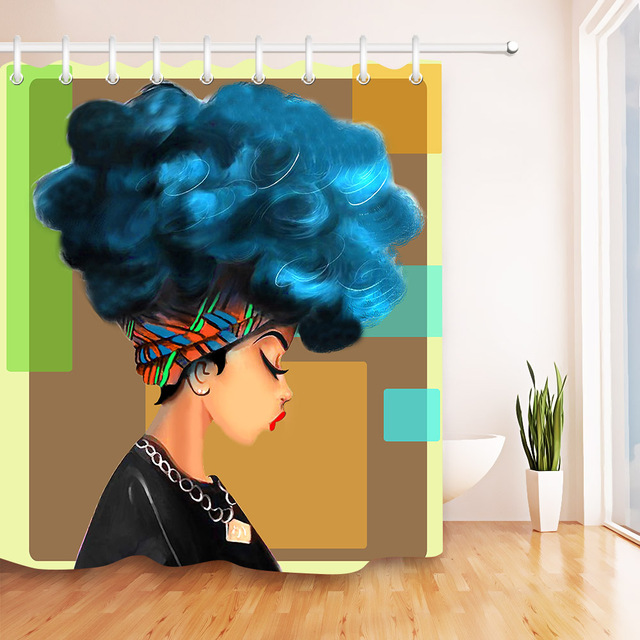 Afro Shower Curtain African Woman With Blue Hair Watercolor Portrait Picture Poster Print Waterproof Mildew Resistant