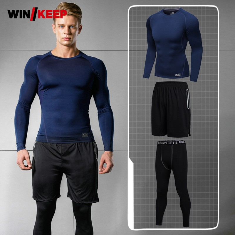 US $46.8 10% OFF|Outdoor Running Clothes For Men Long Sleeve Sportswear Set Fitness Clothing Black Gym Clothing Men Slim Three Piece M 3XL 100KG in