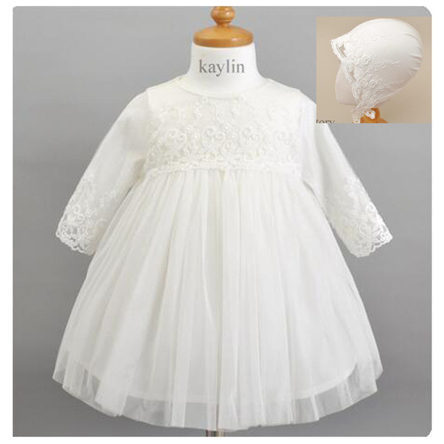 2017 New Baby 1 Year Old Brithday Dress With Hat White Princess Girls Partu Formal Vestidos Baby Girl Clothes 0-24 M ABF164716
