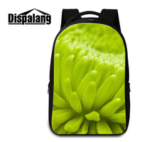 Dispalang Green Plant Flower Print Girls Laptop Backpacks 3D Floral Feminina Travel Bags College Student Large