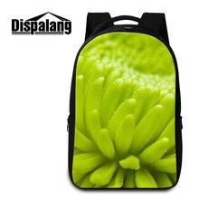 Dispalang зеленое растение цветок печати девушки ноутбук рюкзаки 3D цветочный feminina дорожные сумки студент колледжа большой mochila школьный