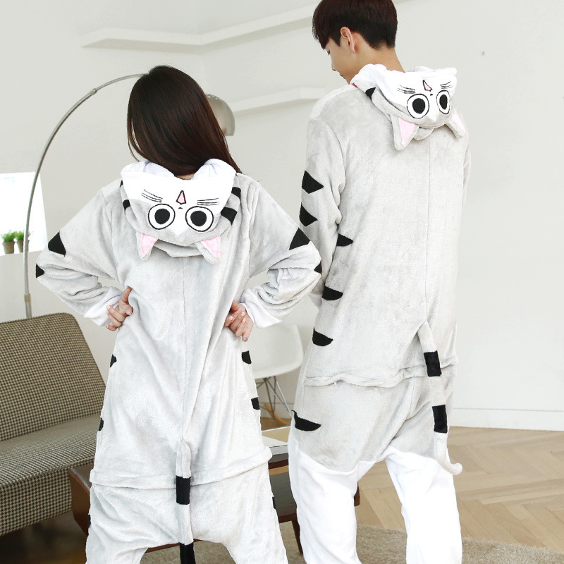 Adults Animal Kigurumi Chis Cat Home Pajamas Sets Sleepwear Cosplay Zipper Onesie Hooded Women Men Winter Unisex Cartoon Pajamas