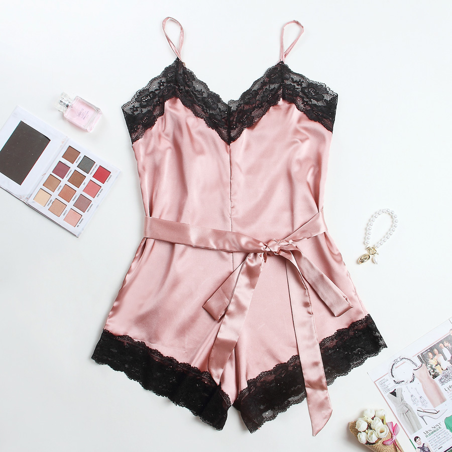 Lingerie Lace Trim Satin Bodysuit Elegant Holiday Casual Romper Mini Belt Playsuit Women's Pajamas