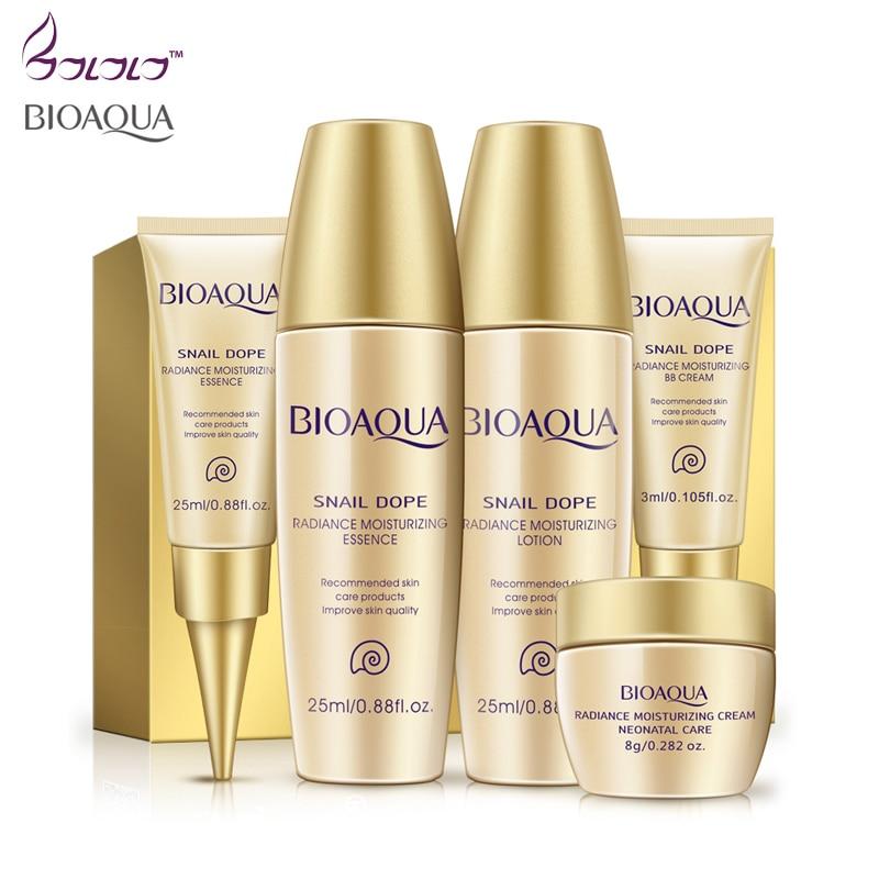 BIOAQUA skin care set, face cream bb cream eye cream toner,liquid 5pcs/set face care snail dope snail cream