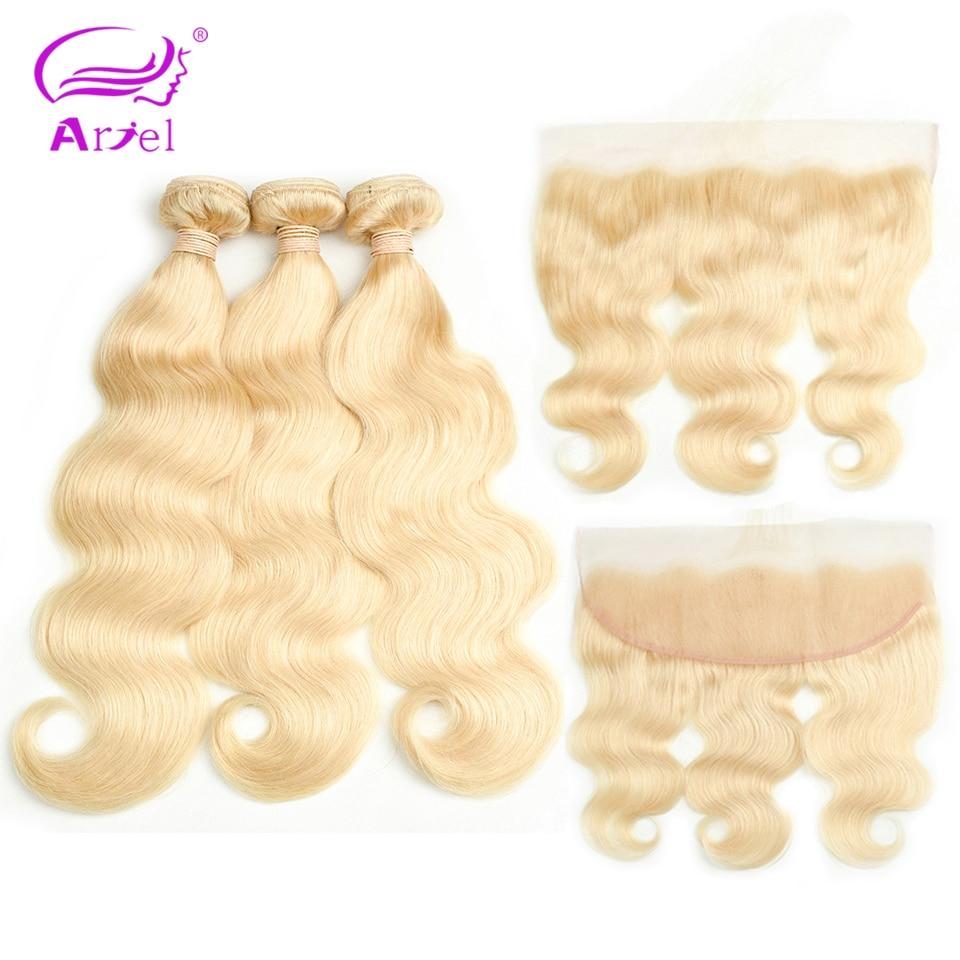 Ariel Peruvian Hair Bundles With Frontal 613 Hair 10 26 inch Remy Hair Bundles With Frontal