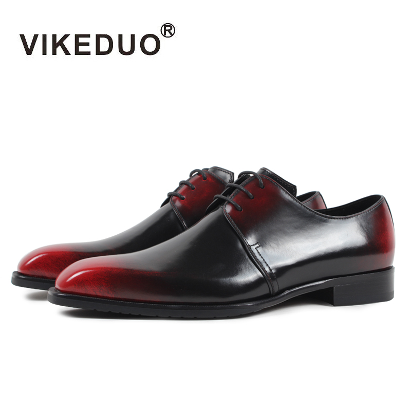 Vikeduo 2019 Handmade Vintage Luxury Brand Wedding Party Dress Dance Calzature esclusive in vera pelle piatta Scarpe derby uomo
