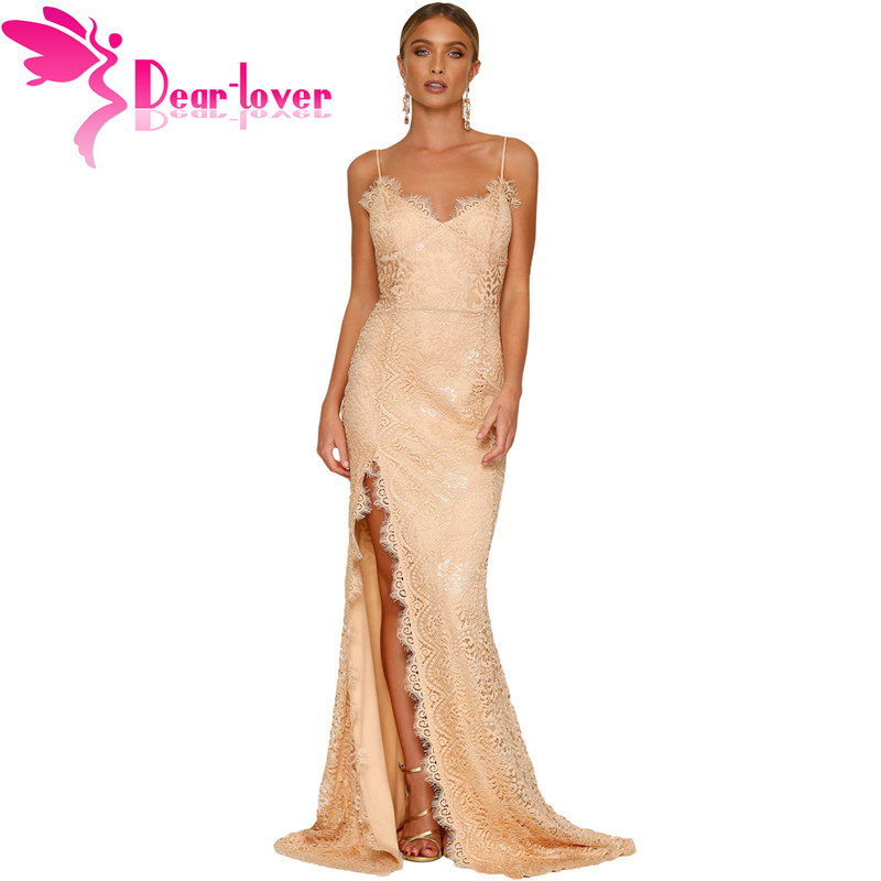 Dear Lover Sexy Party Gowns Nude Yum Lacy spaghetti strap Lace Backless Special Occasion Dresses Vestidos
