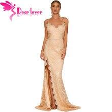 Dear Lover пикантные вечерние платья Обнаженная вкусную Лейси С НАБОРНЫМИ БРЕТЕЛЬКАМИ Кружево спинки Платья для специальных торжеств Vestidos De Festa длинные LC61696