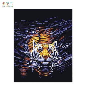 Bezramowe obraz na ścianę obraz olejny akrylowe numery abstrakcyjny obraz głowa tygrysa rysunku numerami unikalny prezent farby przez numery E102