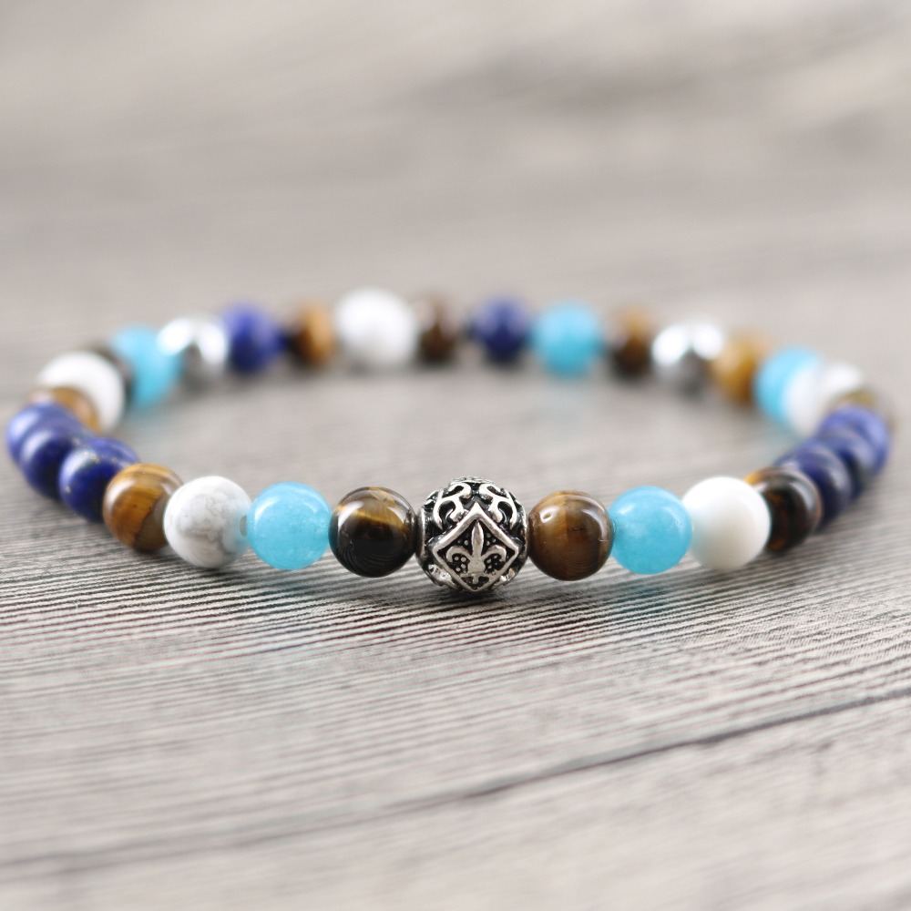Natural Stone Tiger eye and Lapis Sea Blue Beads Strand Wriss