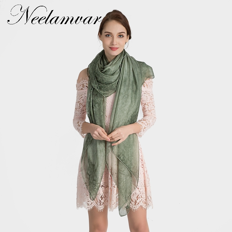 Neelamvar new silk women scarf female spring summer autumn all-match scarf long design cape silk scarves big shawl 200*150cm