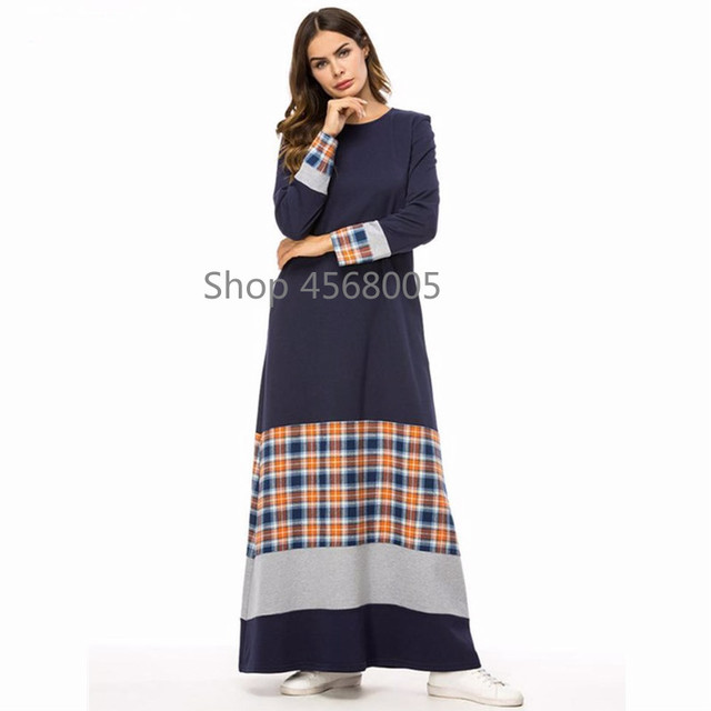 997adcafeeb8 Women Abaya Dubai Muslim Dress Dark Blue Plaid T Shirt Long Dresses  Bangladesh Turkish Kaftan Islamic