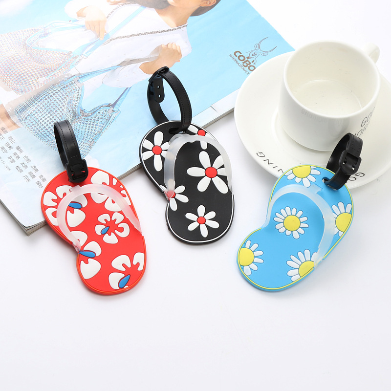 Sunflower Flip Flop Travel Tag Accessories Creative Silicone Luggage Tag Suitcase ID Holder Baggage Boarding Tags Portable Label