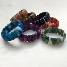 Free Shipping Hip hop jewelry multiple color striped agat beads elastic bracelet bracelet 7.5