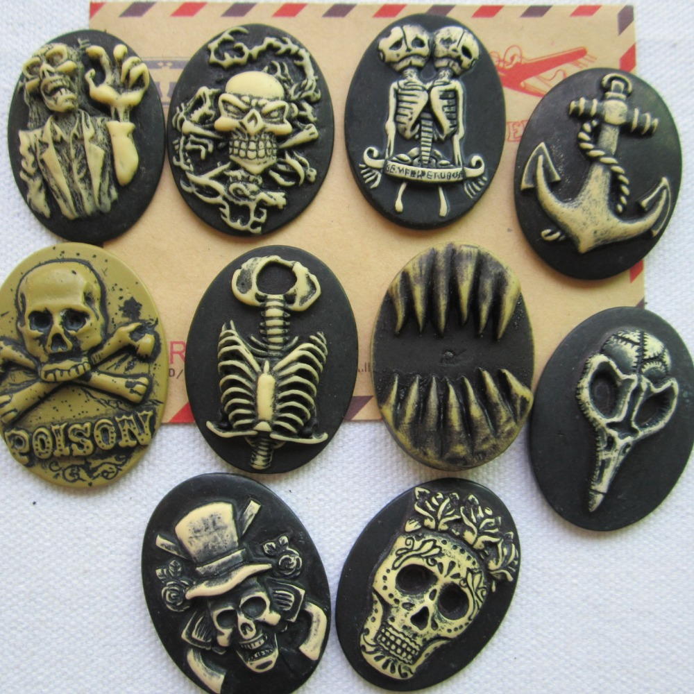 Free Shipping ,30*40mm 20pcs Man&skull Cameo For Crafts Making Diy mix Order Jewelry Accessory Rena! Min.order $6