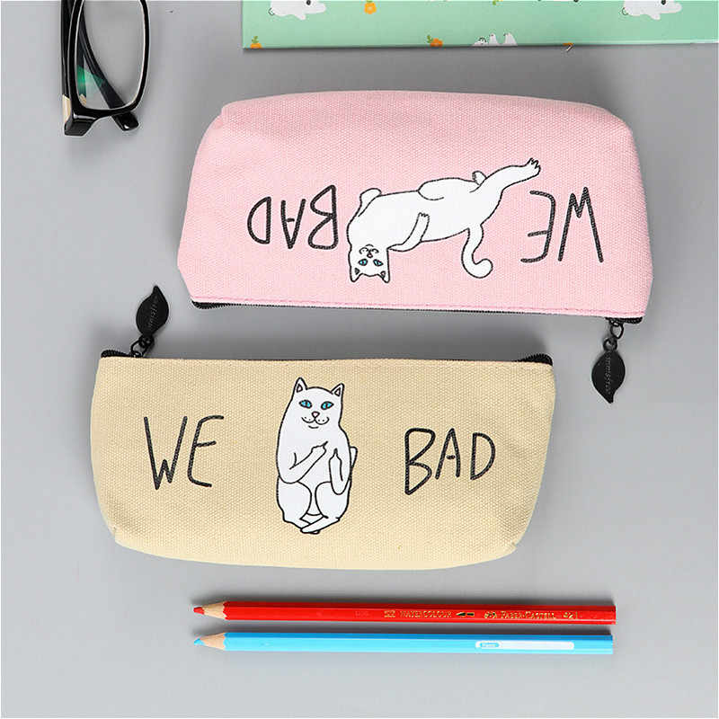 1pcs/sell Kawaii Pencil Case canvas cute kitty pattern School office Supplies Stationery student Christmas Gift