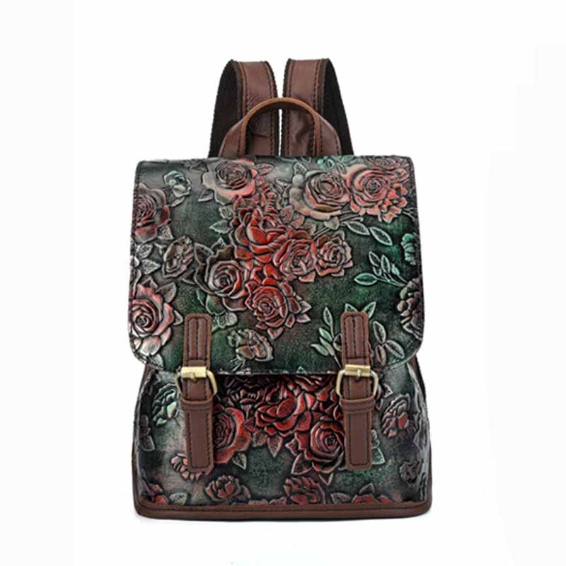 Women Backpack Embossing Genuine Leather Fashion Bolsa Feminina Luxury Bags Floral Retro Style Female Travel Back packs Gift Women Backpack Embossing Genuine Leather Fashion Bolsa Feminina Luxury Bags Floral Retro Style Female Travel Back packs Gift