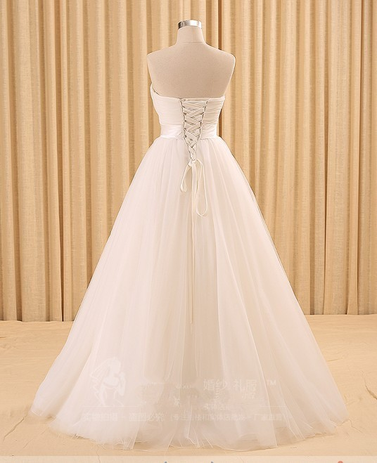 A-line Tulle Simple White Wedding Dress 5