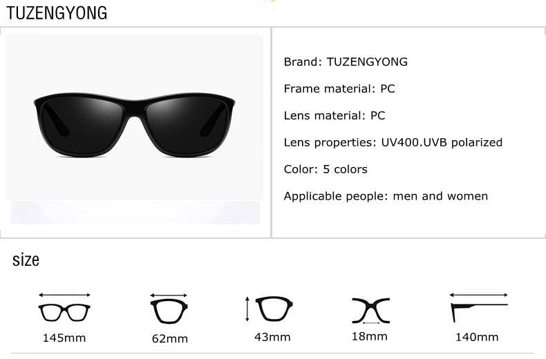 TUZENGYONG Polarisierte Sonnenbrille Männer Frauen Fahren ... 6624469276