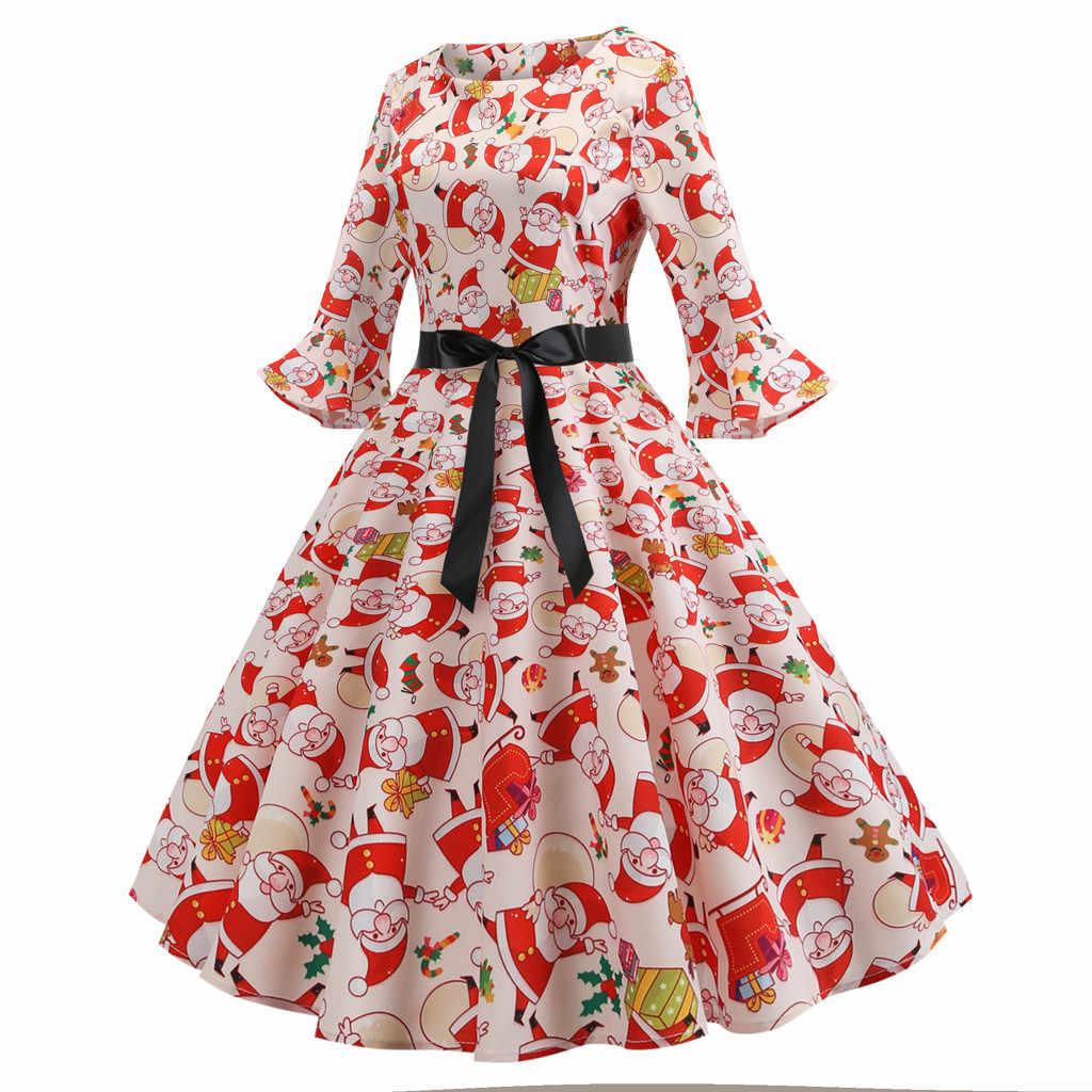 8fa17953647 Christmas Dress Women Three Quarter Sleeve O Neck Christmas Santa Claus  Printing Vintage Dress Vestido Navidad