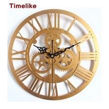 Estilo Vintage de Gran Tamaño de Engranajes 3D Reloj Retro Rústico Decorativo Arte De Plata Grande Gear Reloj de Pared Grande para el Mejor Regalo