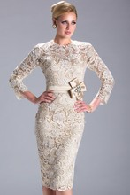 Elegant Lace Long Sleeves Bow Sashes Champagne Short Mother Of The Bride Dresses 2015 New Arrival