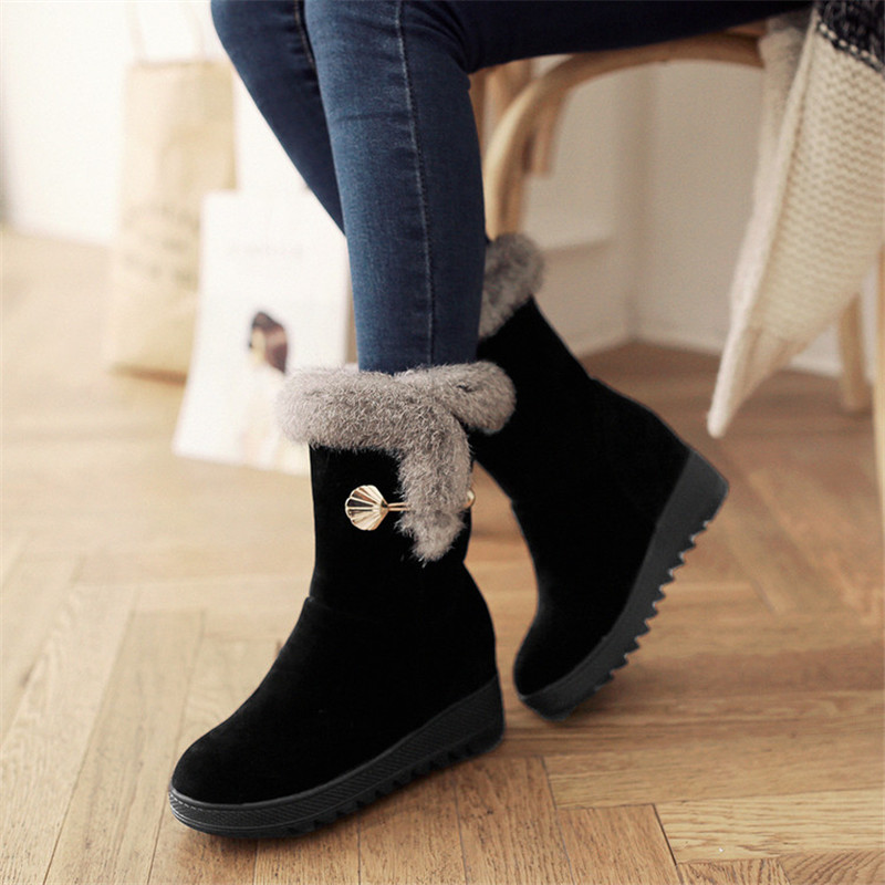 Plus Size 34-42 Height Increasing Women Snow Boots Platform Woman Creepers Slip On Ankle Boots Fashion Casual Winter warm Shoes woman winter warm platform height increasing slip on snow boots fashion round toe dress calf boots black pink white