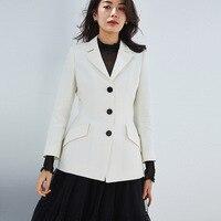 PIXY шерстяной белый блейзер женские куртки и пальто корейский Стиль Подиум блейзер с длинным рукавом Офисная Женская одежда модный костюм