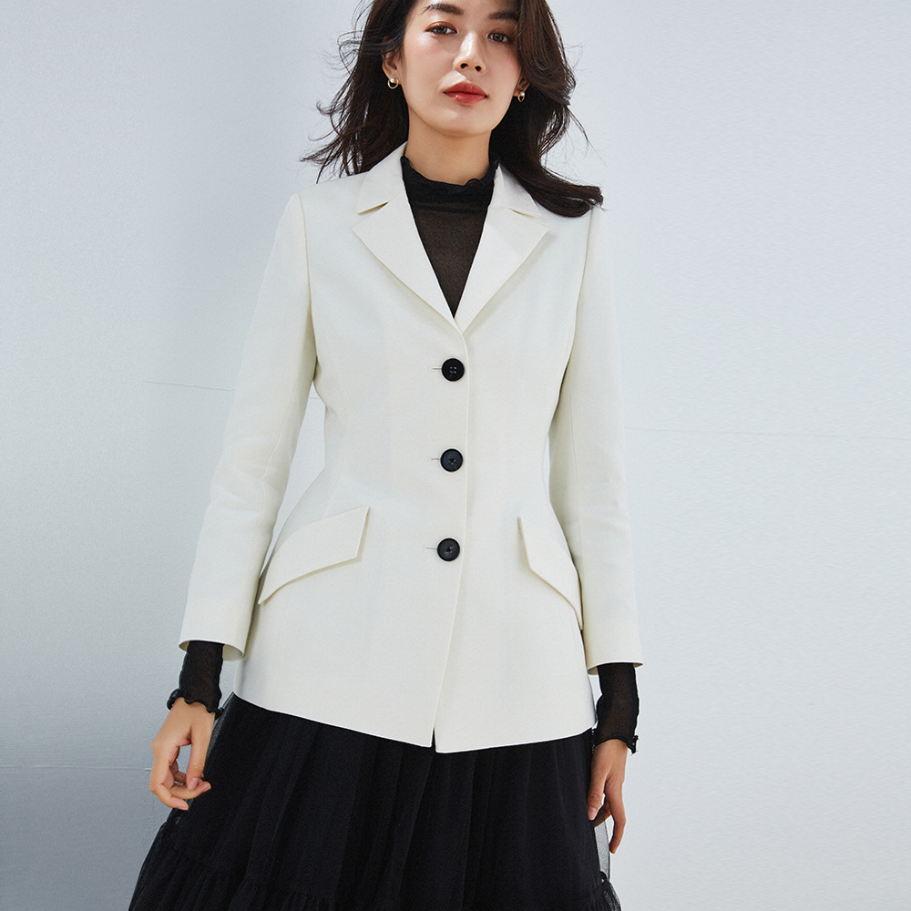 PIXY Wool White Blazer Women Jackets and Coats Korean Style Runway Blazers Long Sleeve Office Ladies Clothes fashionnova Suit