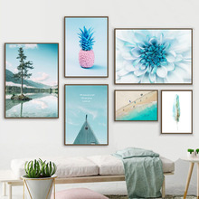 Beach Pineapple Flower Dandelion Feather Wall Art Canvas Painting Nordic Posters And Prints Pictures For Living Room Decor