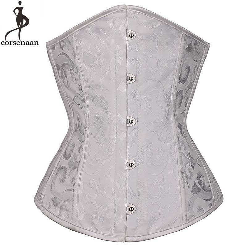 Spiral Steel Boned Corset Jacquard Floral Underbust Korsett For Women Solid Black Ivory Waist Slimming Bustier Busk Gothic Korse