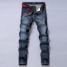 Good quality Men Classic style Slim Straight JEANS New Autumn Male Dark blue denim Pants Long