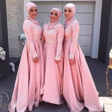 Long Sleeve Muslim Prom Evening Dresses 2017 Hijab Abaya Moroccan Kaftan Lace Appliqued Formal Party Gown Vestido De Festa EP122