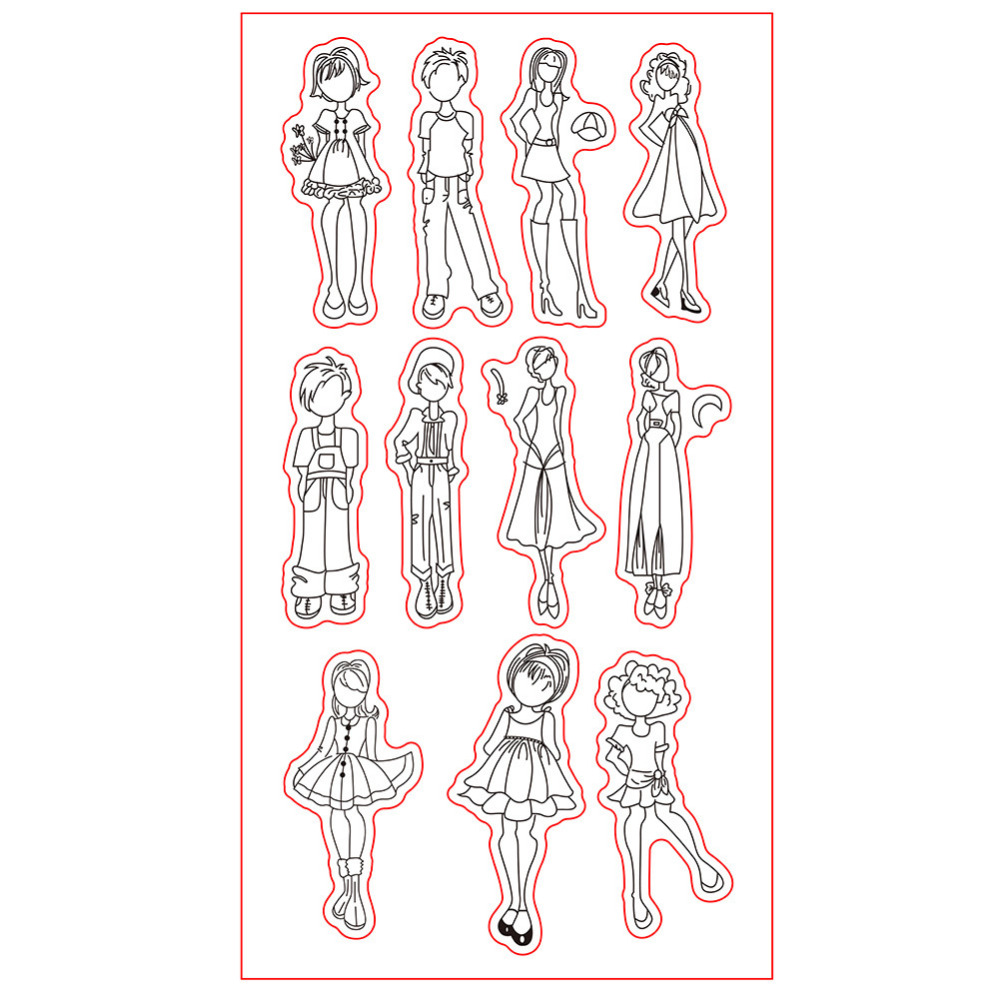 CCINEE 1PCS Transparent  Clear Stamp Girl And Boy Style Used For Photo Album Decorative lovely animals and ballon design transparent clear silicone stamp for diy scrapbooking photo album clear stamp cl 278