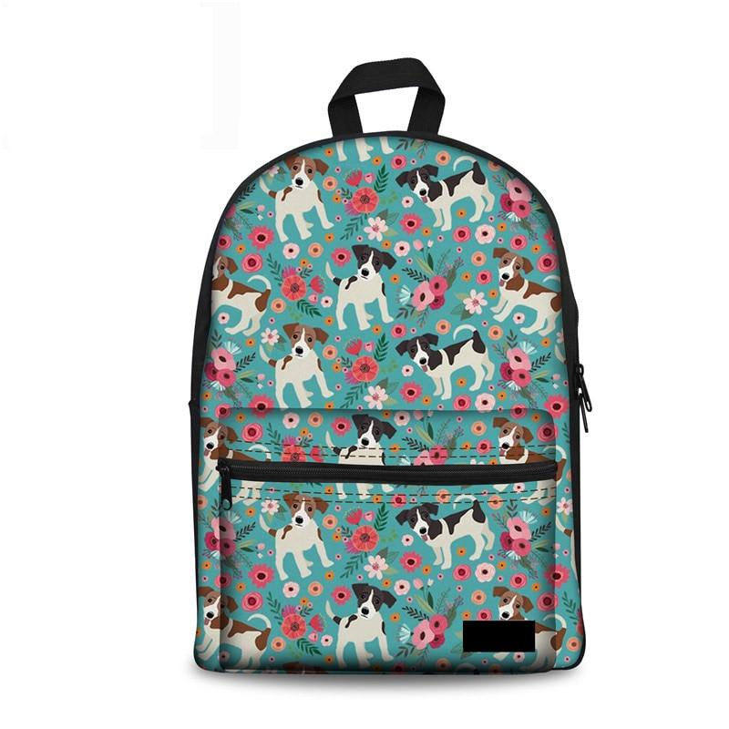 Noisydesigns Women Backpack Jack Russel Korean Style Rucksack Stylish Printing Backpacks Teenager Girls Travel Mochila